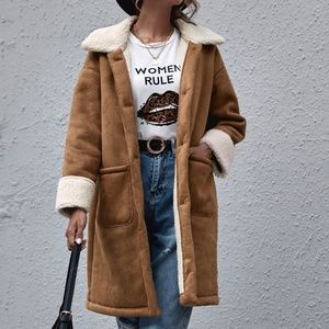 sherpa shearling lined pocket trench pea coat came
